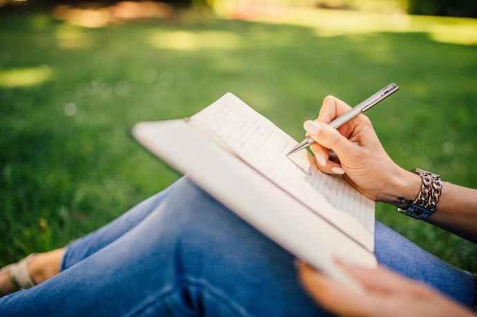 fashion woman notebook pen