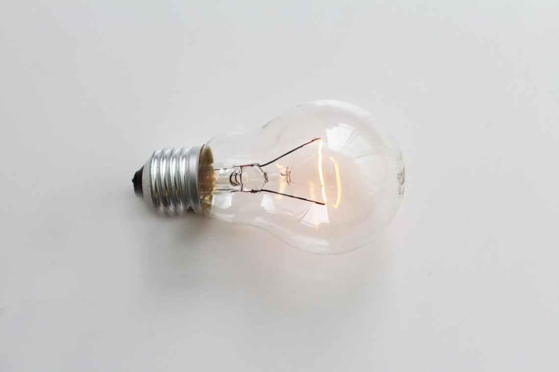 bright bulb close up conceptual